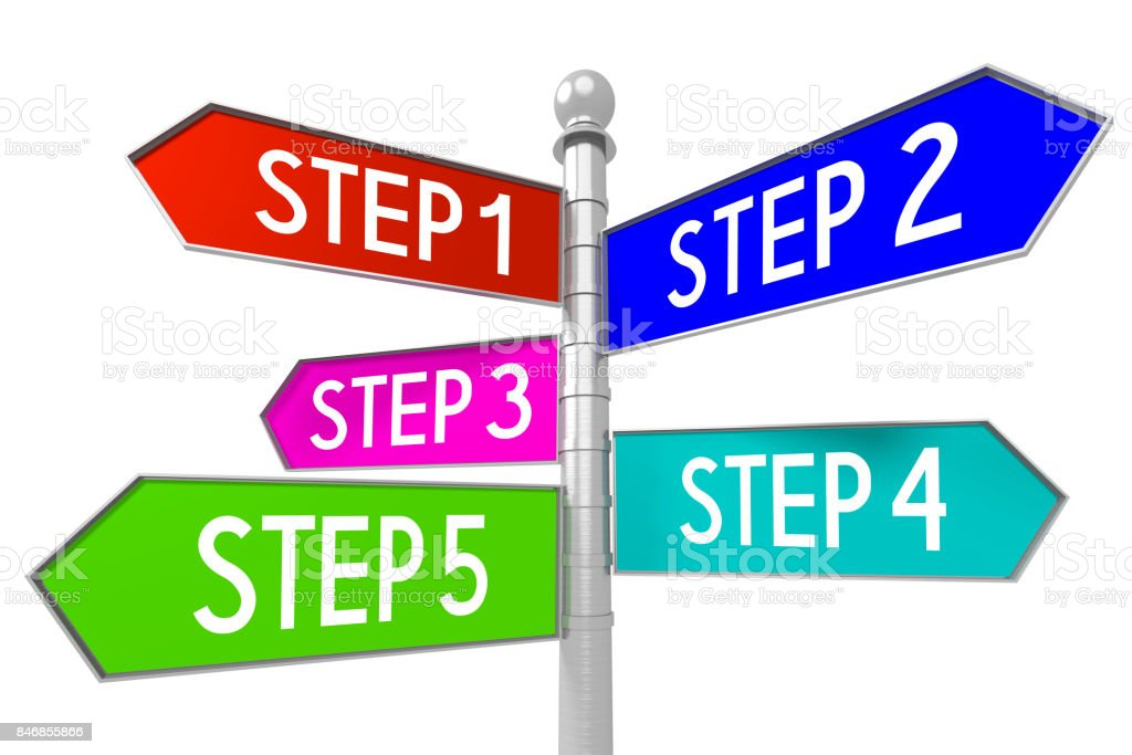 Signpost with 5 arrows - steps stock photo