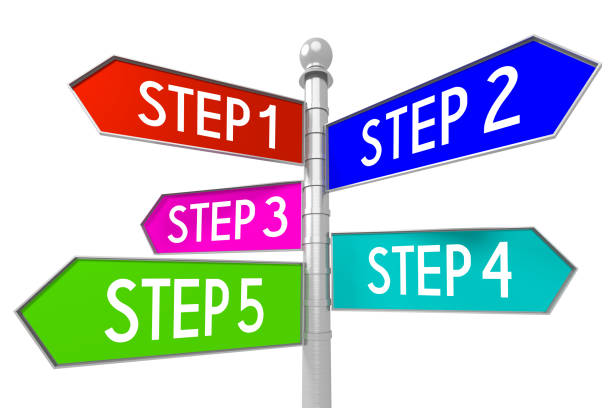 signpost with 5 arrows - steps - five objects stock pictures, royalty-free photos & images