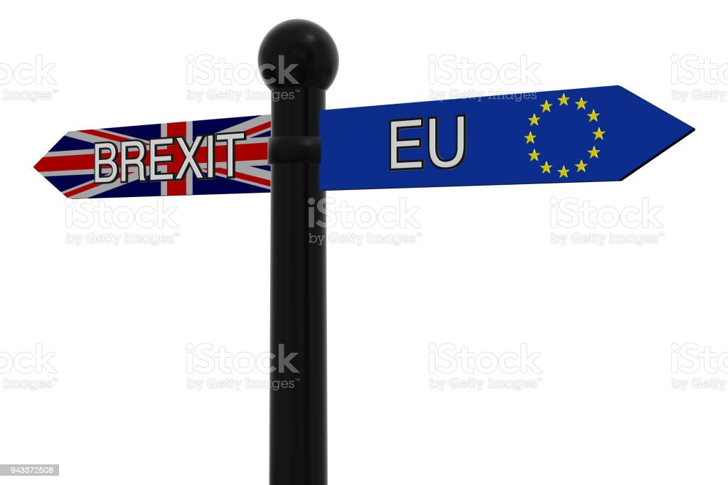 Signpost with Brexit and EU directions stock photo