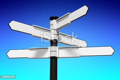 istock 3D signpost with five arrows 526564254