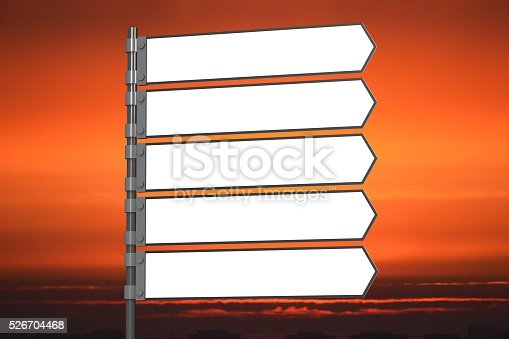 istock 3D signpost with five arrows 526704468