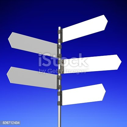 istock 3D signpost with five arrows 526712434