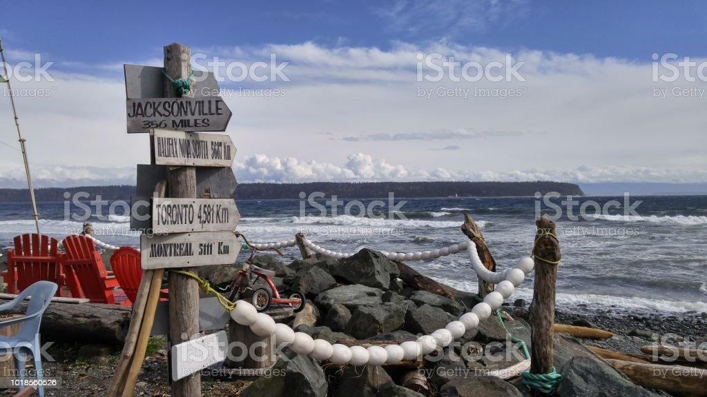 A signpost with multiple old directional signs by the ocean stock photo