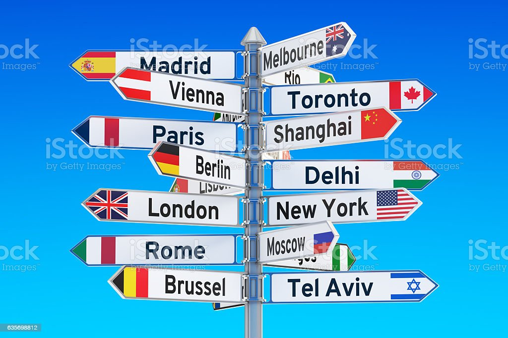 signpost with names of cities, 3D rendering royalty-free stock photo