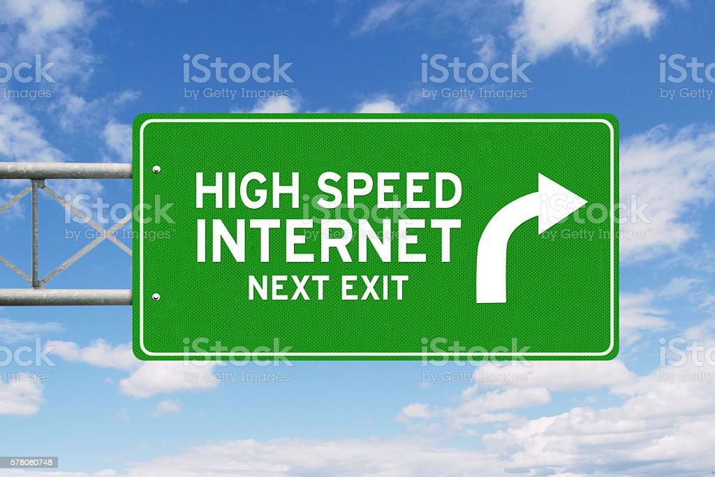 Signpost with text of High Speed Internet stock photo