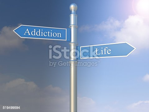 istock Signpost with the words Addiction and Life 519499594