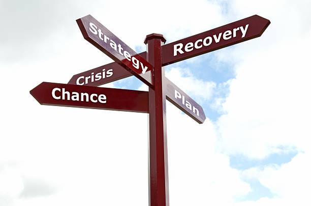 Wegweiser mit den Worten Krise, chance, stratety, planen, Erholung – Foto