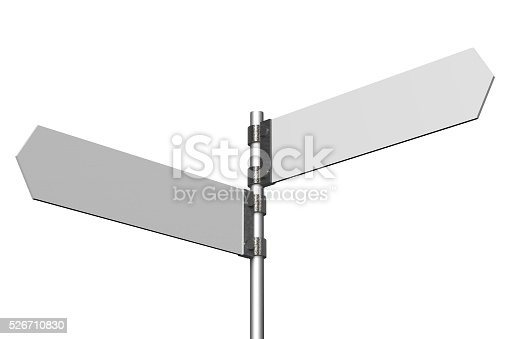 istock 3D signpost with two arrows 526710830