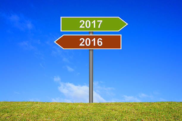 Signpost year 2016 2017 Signpost showing year 2016 and 2017 alternately stock pictures, royalty-free photos & images