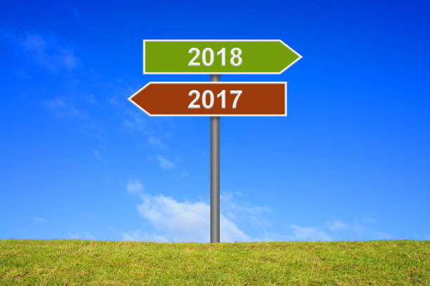 Signpost year 2017 and 2018 Signpost showing year 2017 and year 2018 alternately stock pictures, royalty-free photos & images