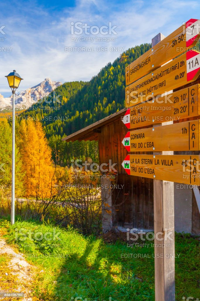 signposting distances paths in val Gardena stock photo