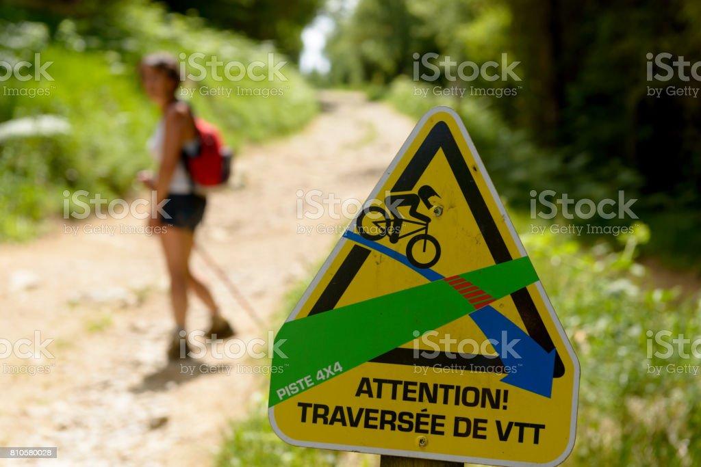 Signposting for mountain biking stock photo