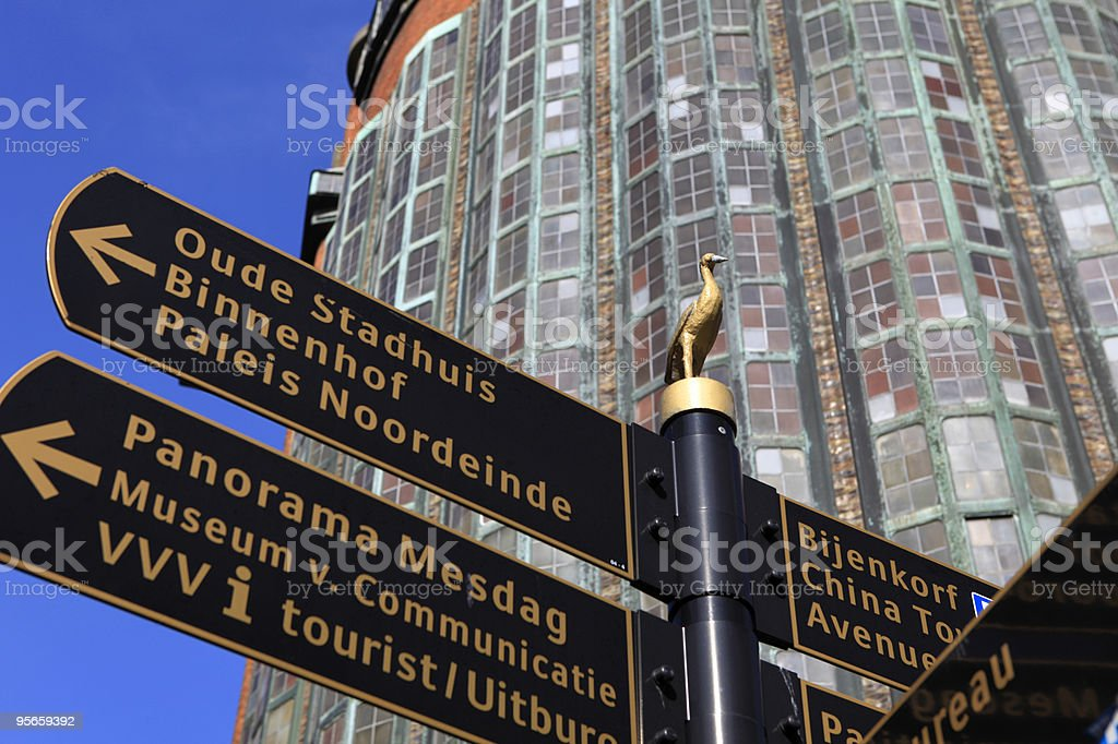signposting in The Hague royalty-free stock photo