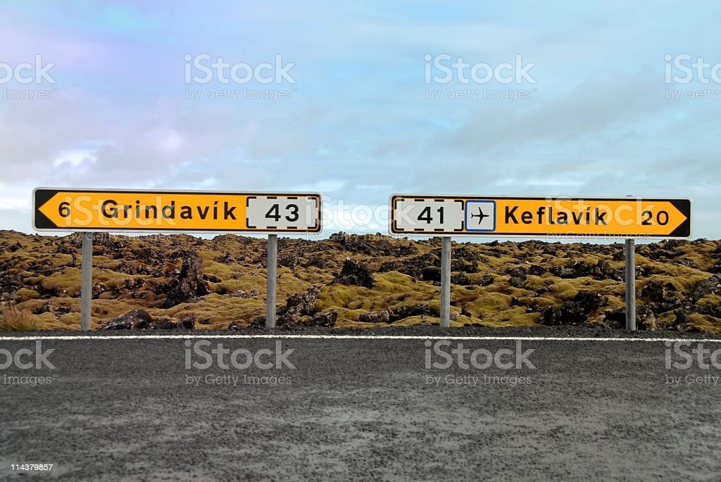 Signposts directing to Grindavik and Keflavik Airport, Iceland stock photo