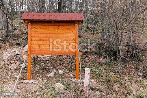 185884645istockphoto Signposts in the woods 665886162