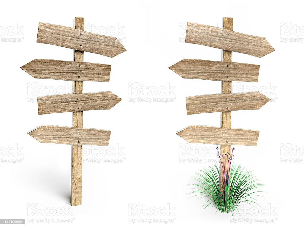 Signposts with four blank wooden direction arrows stock photo