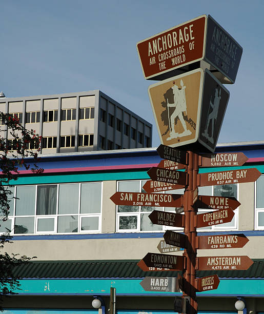 Signpostwith distances and directions in Anchorage,Alaska stock photo