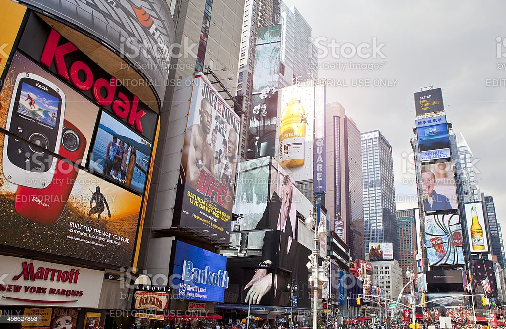Signs and billboards in Times Square royalty-free stock photo