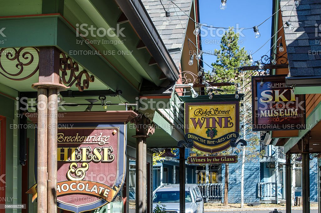 Signs and Shops on Main Street, Breckenridge, Colorado stock photo