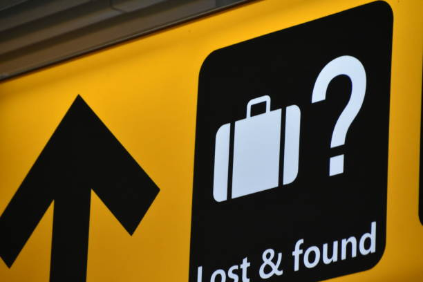 Signs at an airport stock photo