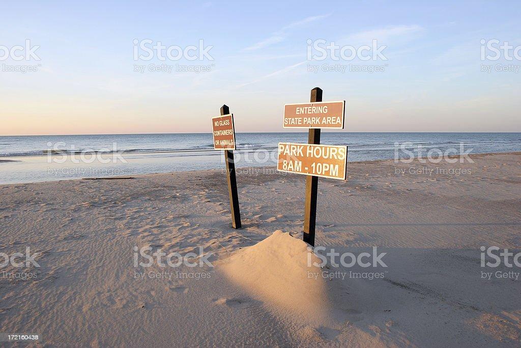 Signs at Lake Michigan royalty-free stock photo