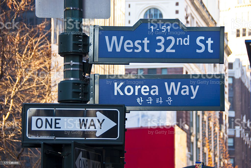 Signs at the corner of West 32 Street and Broadway stock photo