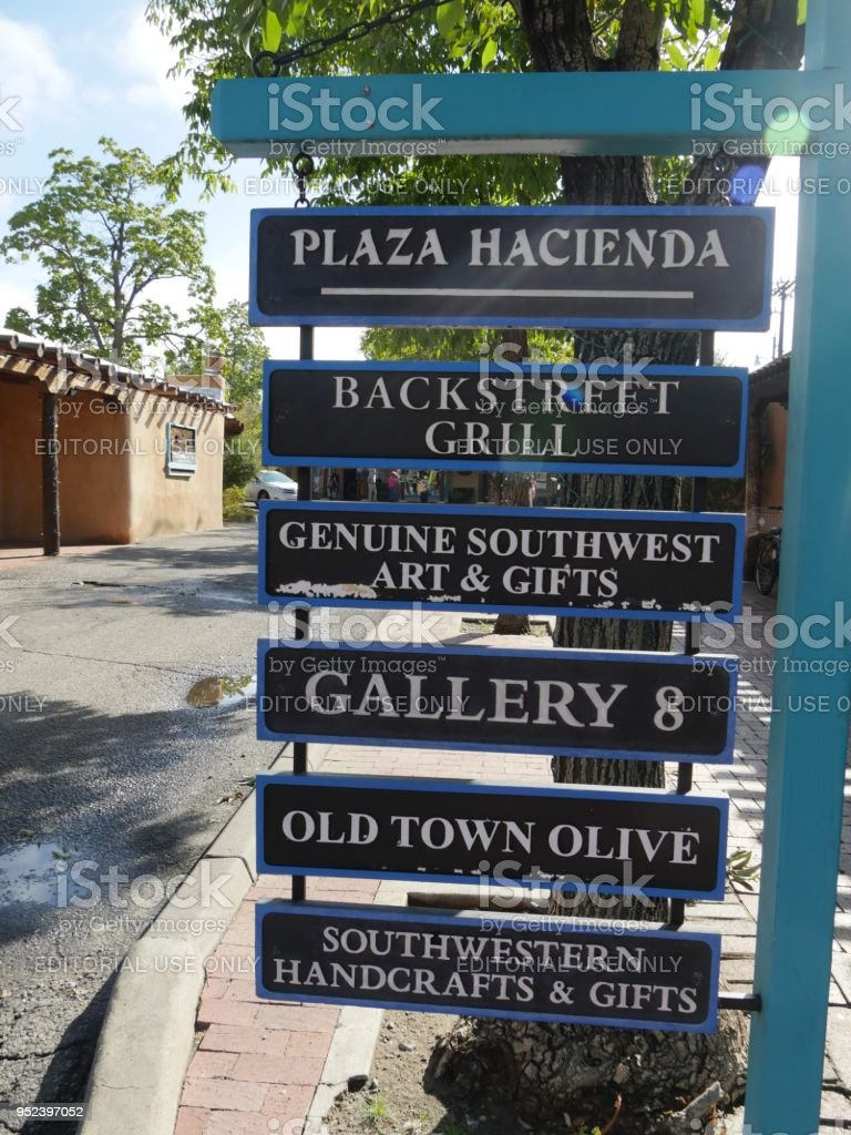 Signs at the Old Town in Albuquerque stock photo