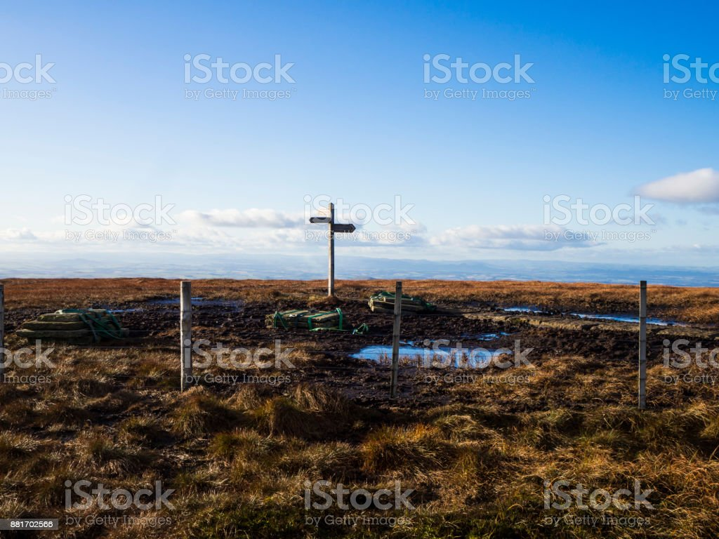 Signs at the top of a hill stock photo