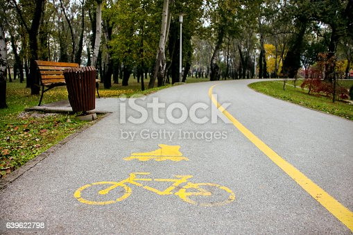 istock Signs cycling and inline skating track on the asphalt 639622798