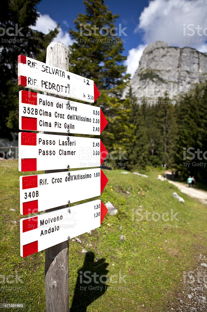 signs for hiking trails royalty-free stock photo