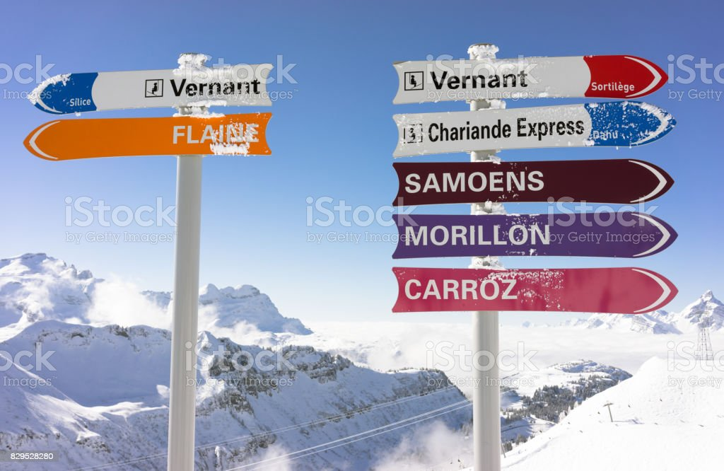 Signs for skiers in the Grand Massif ski area in France stock photo