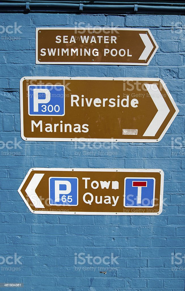 Signs for Tourists, Lymington, New Forest stock photo