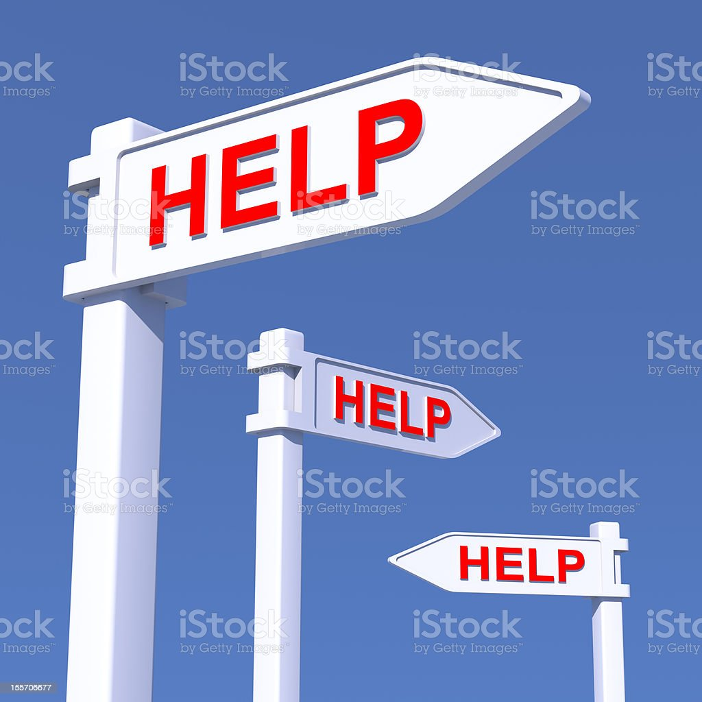 HELP signs in different directions, CGI concept, XXXL royalty-free stock photo