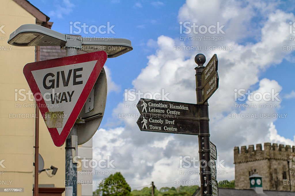 Signs in Llandysul town center, Wales. stock photo