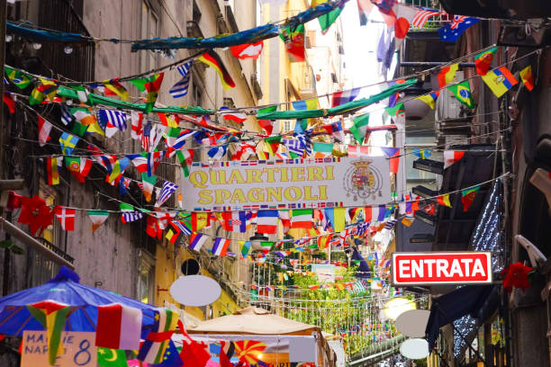 Signs in the historic center of Naples - foto stock