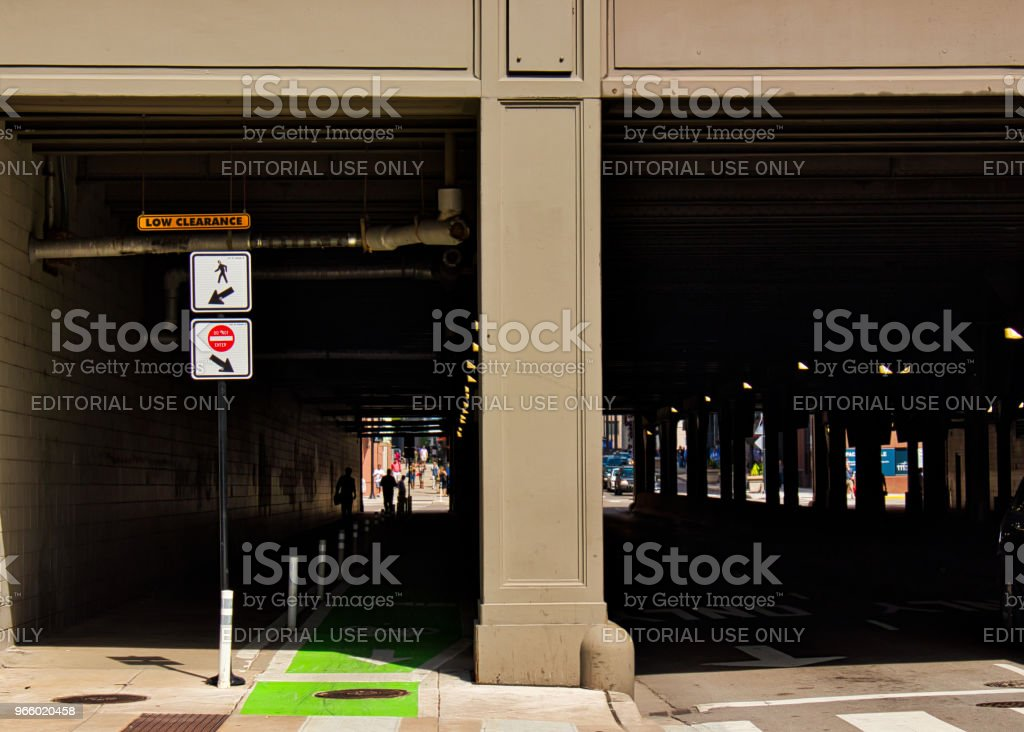 Signs indicating pedestrian walkway and bicycle lane in downtown Chicago at bridge over Randolph Street. - Royalty-free Bridge - Built Structure Stock Photo
