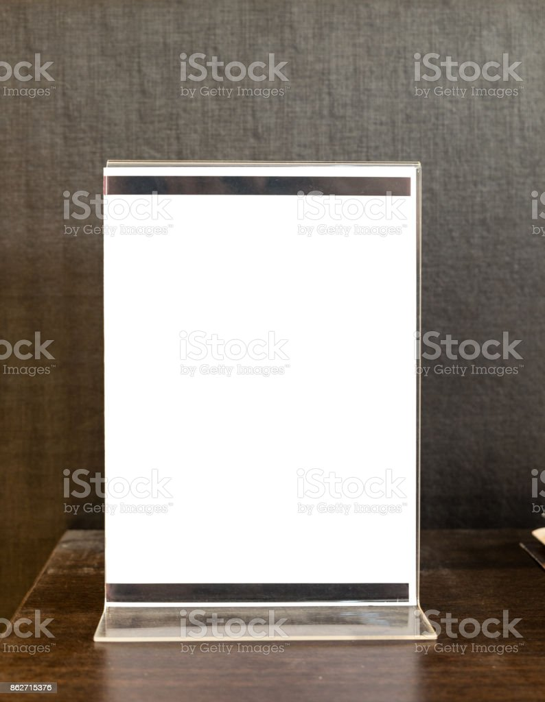 Signs label acrylic white blank on table stock photo