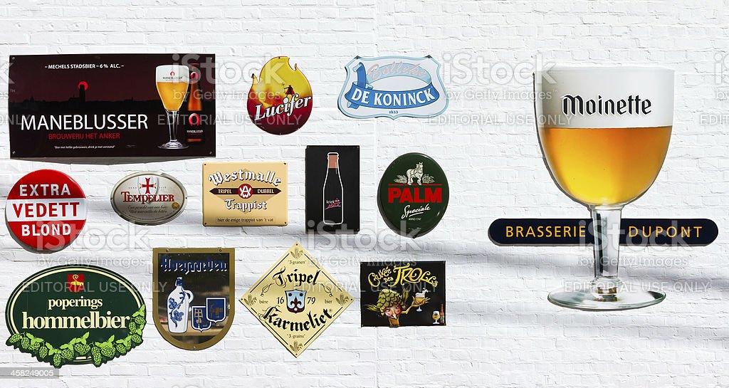 Signs of Belgian beers stock photo