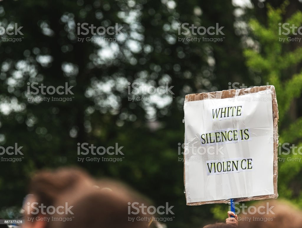 Signs of Protest Signs of protest in the wake of recent events in the US. Canada Stock Photo