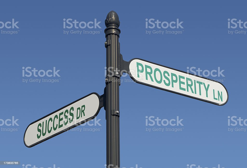 Signs of Success and Prosperity stock photo