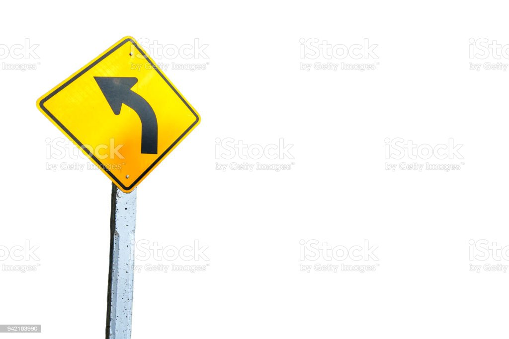Signs of the curve on a white background clipping path. stock photo