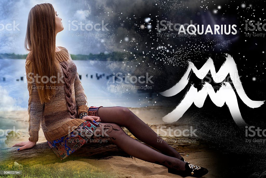 Signs of the zodiac, Aquarius stock photo