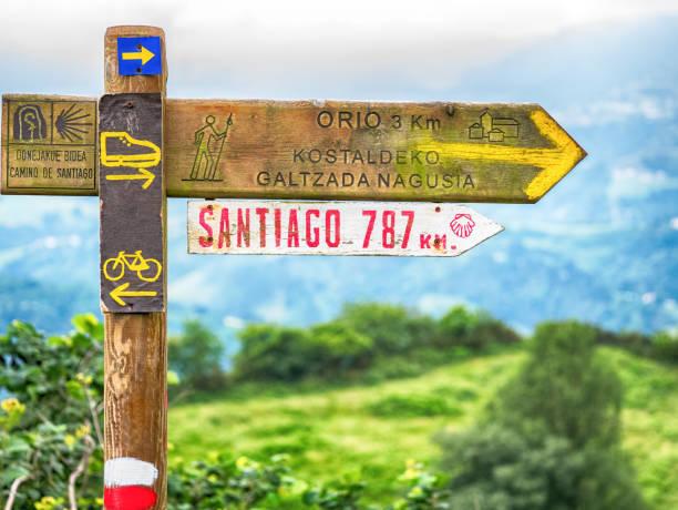 Signs on Camino de Santiago Signs on Camino de Santiago pilgrim stock pictures, royalty-free photos & images