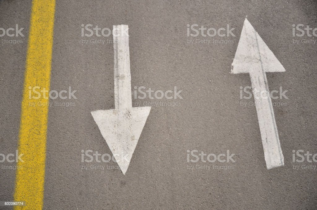 Signs on cycling road with natural sunlights stock photo