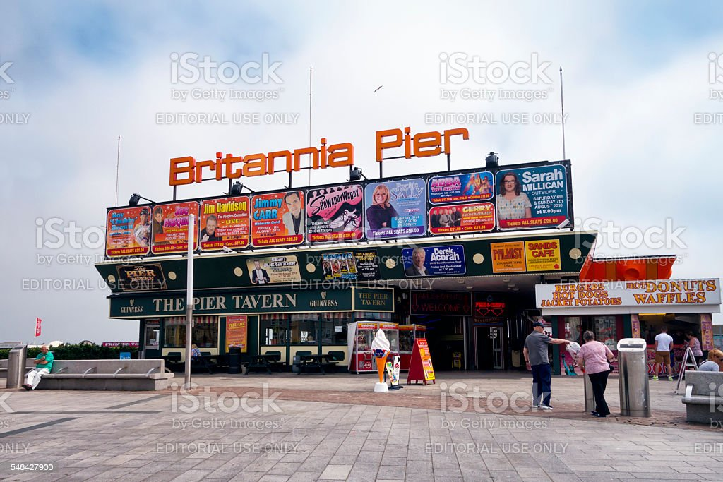 Signs on the Britannia Pier, Great Yarmouth stock photo