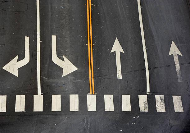 las señales en la carretera - fila arreglo fotografías e imágenes de stock