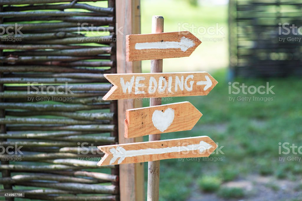 Signs to a wedding stock photo