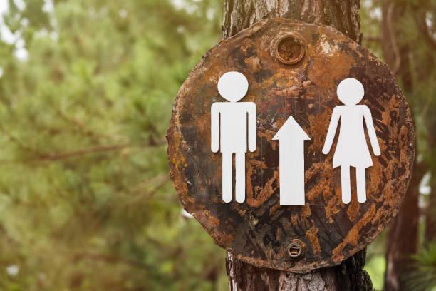 Anzeichen auf die Toilette auf dem Baum. – Foto