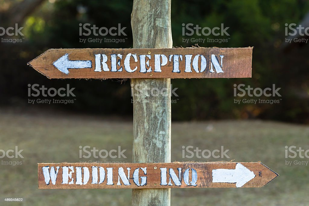 Signs Wedding Reception Wood stock photo