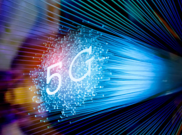 5G signs with Fiber optics background,Communication Concept, stock photo